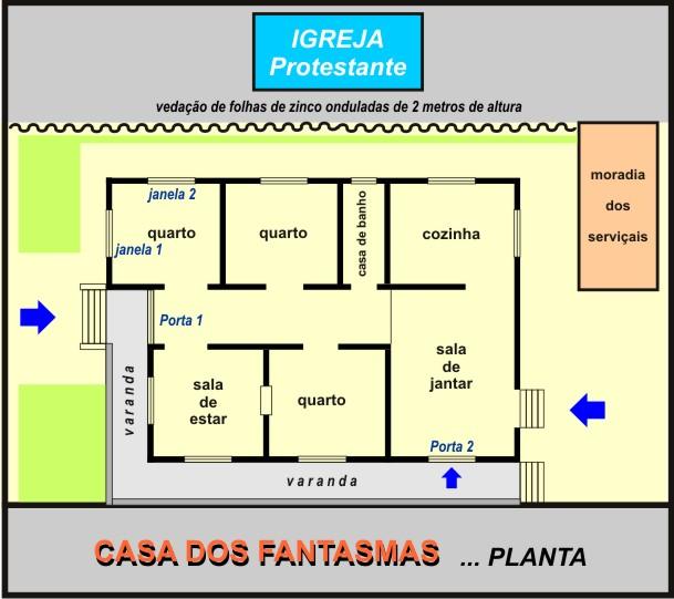 Planta da casa e localização da Igreja Protestante