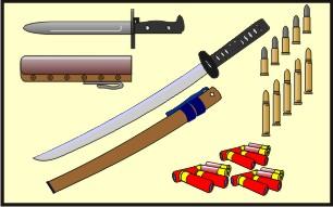 Uma parte ínfima do Arsenal que levávamos onde se vê uma das espadas japonesas do Moreira