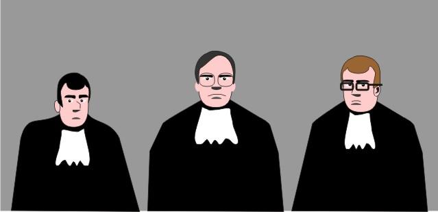 O Juiz e seus assessores fulminou-nos com uma expressão severa.
