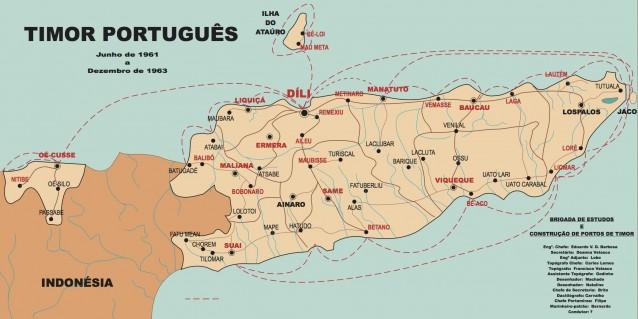 Rotas de navegação efectuadas pelos Serviços Topo-Hidrográficos em redor da Povíncia de Timor Leste